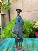 1800and039s Ancient Wood Hand Craved Tribal Women With Her Child Sculpture Statue