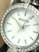 Bulova Womenand039s Watch 96x136 Quartz Crystal Accents Stainless Steel 22mm Petite