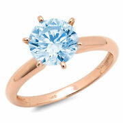 3 Ct Round Natural Swiss Blue Topaz 14k Pink Gold Solitaire Wedding Bridal Ring