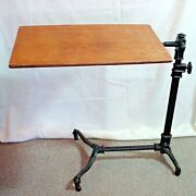 Antique J Foot And Sons London Mahogany Claw Foot Cast Iron Drafting Writing Table