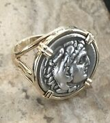 Treasure Coin Authentic Ancient Greek Alexander The Great Zeus Ring Set 14k Gold