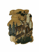 Natural Wood Hand Carving Deer In The Woods Wall Art Cabin Style Home Decor