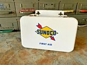 Vintage Sunoco First Aid Kit Metal Box Old Gas Station