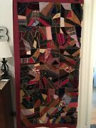 Victorian Crazy Quilt Top Hand Made Very Good Condition Andnbsp 66 X 67