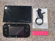Nintendo Wii U 32gb Black Console - Lot - With Cords - Wii Remote - Games