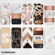 Personalised Rose Gold Marble Initials Flip Wallet Case For Iphone And Samsung