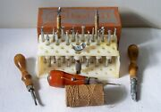Vintage Craftool Co. Usa Leatherwork Stamps And Stand W/box + Other Leather Tools