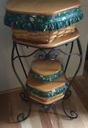Longaberger Basket Set 3 With Stand. Includes Lids And Fabric/plastic Linersandnbsp
