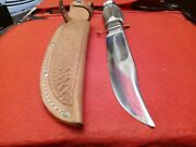 🔥vintage Rare Old Edge Brand Solingen Bowie Knife Stag Bone Hunting W/case Wwii