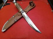 🔥vintage Rare Old Solingen Hunting Bowie Knife Stag Bone Youth Lady Case Scout
