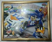 Vintage Nascar Loony Tunes Characters Framed Picture 1998