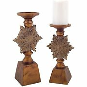 Set Of 2 Antique-style Bronze Snowflake Candle Holder Christmas Table Decoration