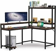 Tribesigns Rustic Large L Shaped Desk With Hutch And Monitor Stand, Gaming Table