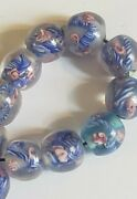 15 Antique Venetian Wedding Cake Beads Blown Glass Marble Beads Rare And Unusual