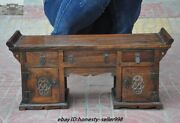21rare Old Chinese Royal Huanghuali Wood Hand-carved Drawers Desk Cabinet Table