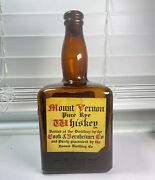 Labeled Vintage Mount Vernon Pure Rye Whiskey Bottle 1 Quart Cook And Bernheimer