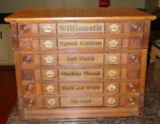 Antique Oak 6 Drawer Spool Thread Cabinet With Owl-----15646