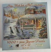 Hey Wait For Me Nicky Boehme 1000 Piece Jigsaw Puzzle Penguins Christmas Scene