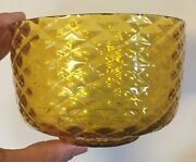 Antique 19th C. Hand Blown Amber Glass Bowl With Diamond Pattern Golden Color