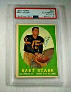 Rare 1958 Bart Starr Signed Topps Card-green Bay Packers-2nd Year Card-psa 9