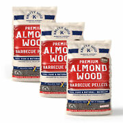 3 Pack 20lbs Bags Almond Wood Cooking Pellets Bbq Smoker Sweet Smoke Knotty Wood