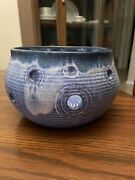 Mccarty Pottery Large Blue Fairy Lights - Candle Bowl Vintage