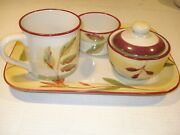 Hartstone Pottery Serving Tray Set W/open And Covered Bowls Mug Flowerandleaf