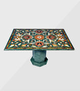 48 X 36 Green Marble Table Top Inlaid Semi Precious Stones With 18 Stand