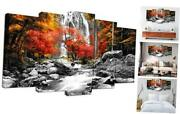 Black White Red Canvas Wall Art Autumn Yellow Orange Trees Forest Waterfall