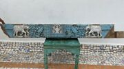 17th C Ancient Wooden Hand Carved Blue Painted Elephant Figure Wall Door Panel