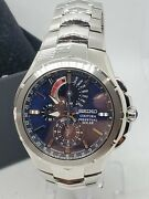 Seiko Coutura Perpetual Solar Menand039s Watch Blue Dial V198-0ab0 Sapphire Crystal