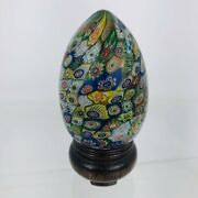 Millefiori Egg-shaped Paperweight Colorful 60s Acrylic Egg