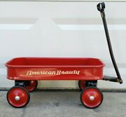 Vintage 1950s American Beauty Small Red White And Black Childand039s Pull Wagon Nice