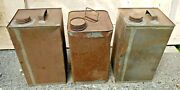 Lot Of 3 Antique Primitive Solder Seamed Gas Oil Cans Early Square Body Vintage