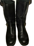 Black Leather Biker Boots-2 Adj Side Buckles-2andrdquoup To Calf-italy-8m