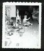 Antique Vintage Photograph Cute Little Baby Sitting By Christmas Tree And Toys