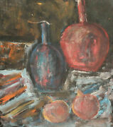 Vintage Expressionist Oil Painting Still Life With Bottles And Fruits
