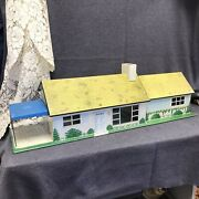 Vintage 1950's Marx Tin Litho Ranch Style Doll House With Patio Dh1