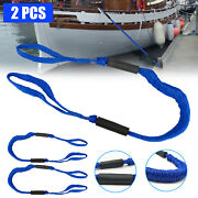 2pcs Marine Bungee Dock Line Boat Mooring Rope Anchor Cord Tie Down Stretch Blue