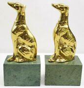 Jennings Bros Art Deco Brass Greyhound Whippet Bookends On Marble Base