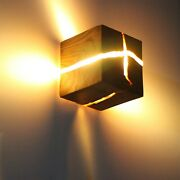 Led Corridor Lamp Modern Wooden Style Square Solid Bedside Lamp Home Decoration