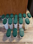 Set Of 15 Vintage Large Tupperware Spice Containers 1846 Green 1843 Green