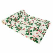 Christmas Table Runner Holly   Traditional Festive Decorations Gold Glitter 3m