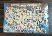 Vintage 1962 Esso Folklore And Legends Of Our Country Usa Map Road Atlas Education