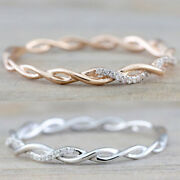 Twisted Tiny Diamond Engagement Ring Women Wedding Party Jewelry Gift Size 5-11