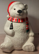 Vintage Coca Cola Bear Red/green Scarf Cookie Jar W Box By Gibson 1996