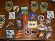 Bulk Lot Us Army Marineother Military Patches Rank And Unit And Pins See Photos.