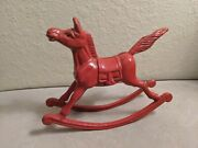 Heavy Vintage Cast Iron Red Rocking Horse Door Stop Toy Carousel Circus Pony