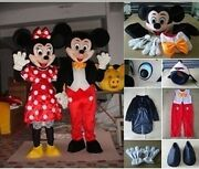 2pcs/set Mickey And Minnie Mouse Mascot Halloween Cosplay Costume Fancy Dress