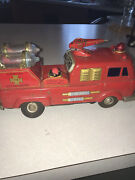 Yonezawa Red Chemical Fire Truck Tin Toy 'bump And Go' Car 1960's Vintageparts